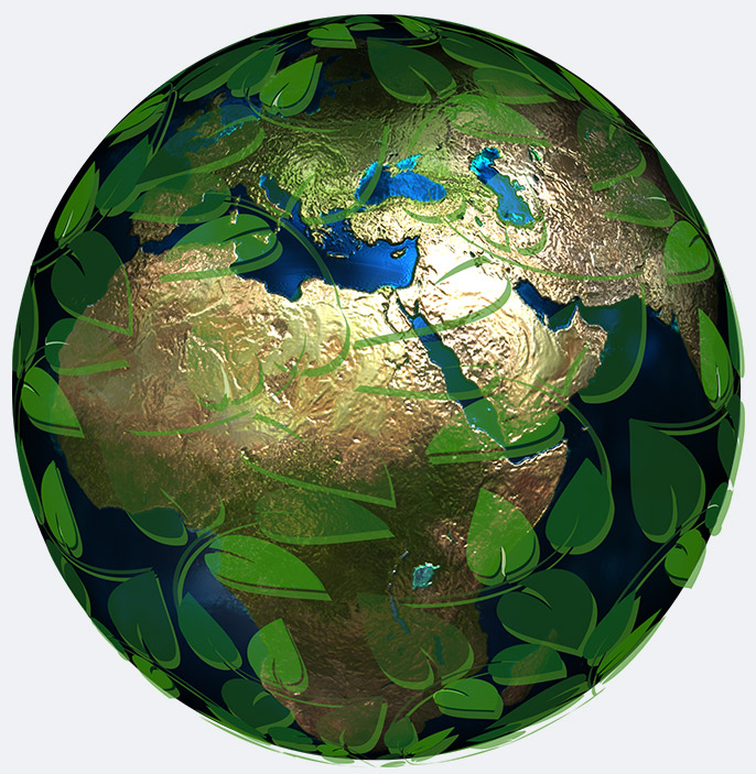 Earth globe wrapped with plants - symbol of organic viticulture