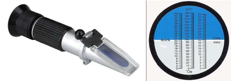 Refractometer and measuring scale