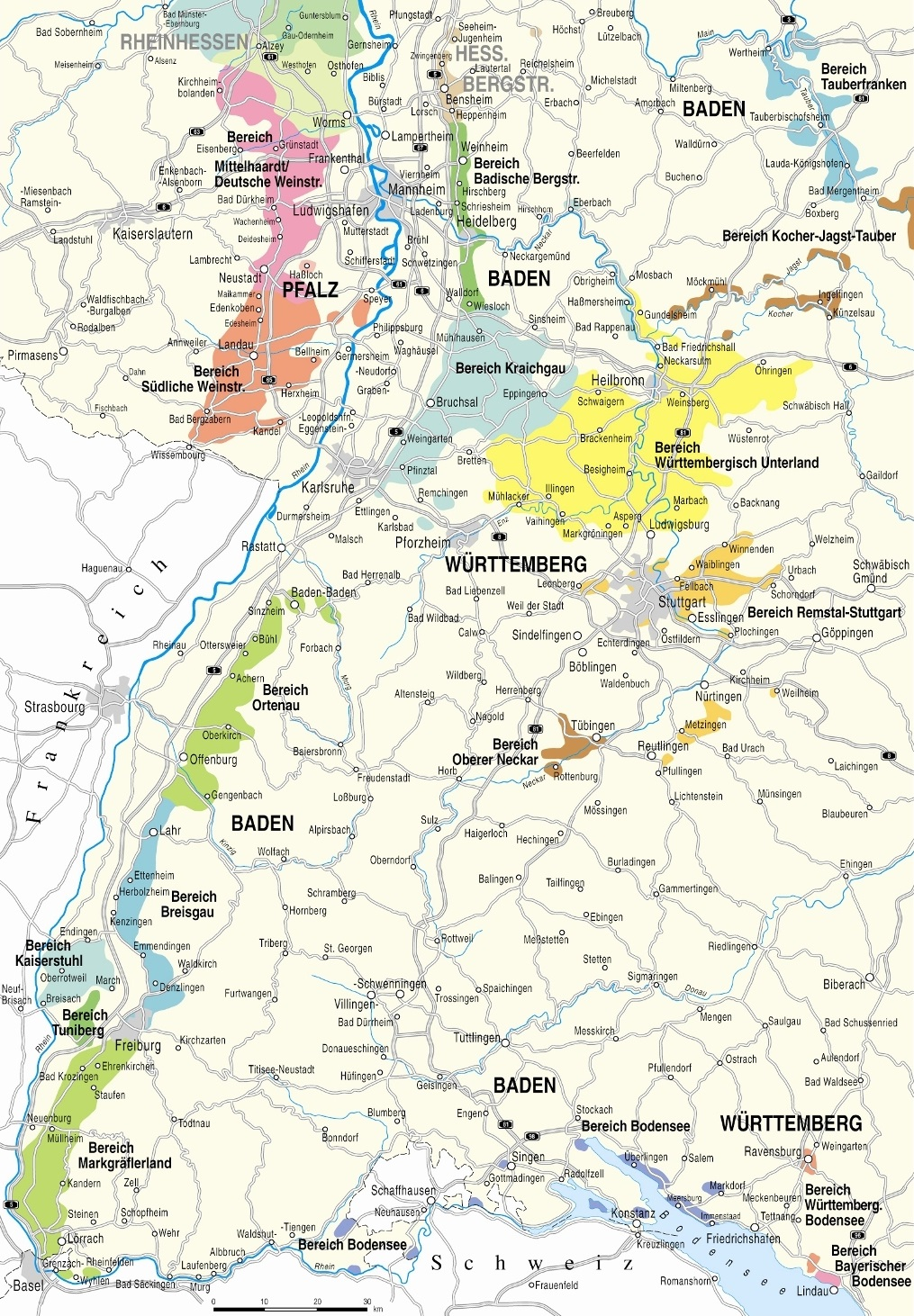 Map of the Baden region