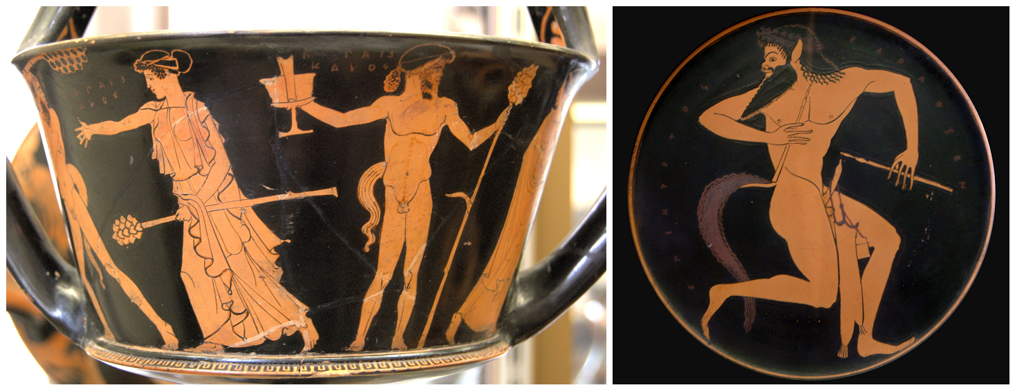 Maenad and a satyr with the thyrsus staff