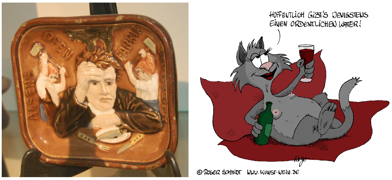 Ashtray with drunkard / cartoon with drunk cat waiting for hangover