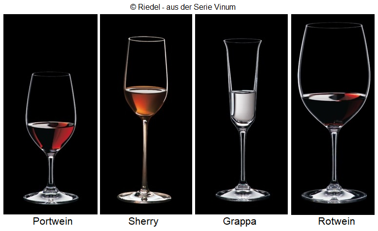 Drinking glasses: port, sherry, grappa, red wine