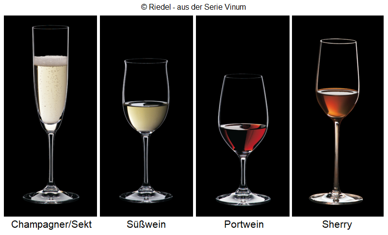 Drinking glasses: champagne / sparkling wine, sweet wine, port wine, sherry