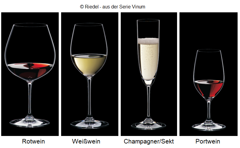 Drinking glasses: red wine, white wine, champagne / sparkling wine, port wine