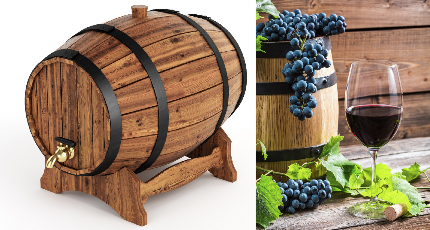 Wooden barrel / barrel with grapes and red wine glasses