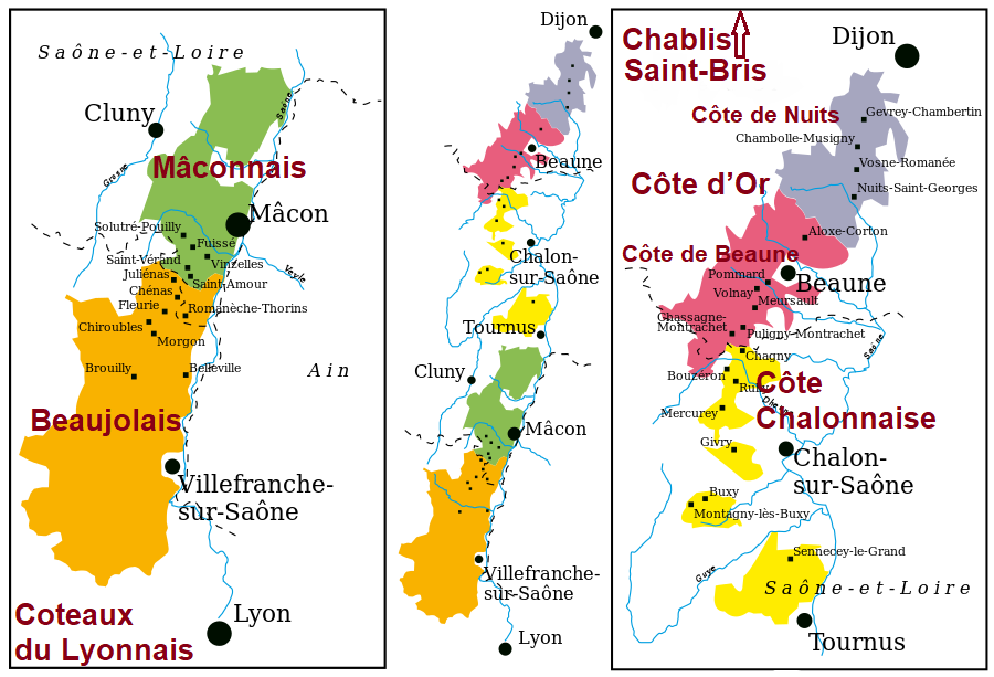 Map of Burgundy - Appellations