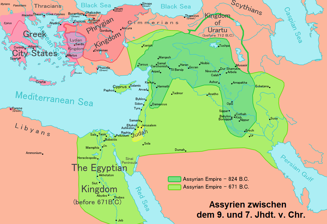 Map of Assyria between the 9th and 7th centuries BC Chr.