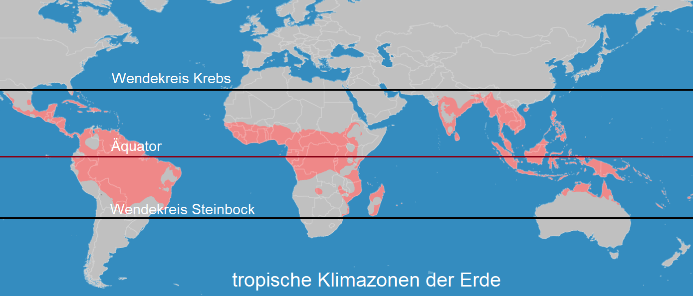 Map of the Earth's tropical climates