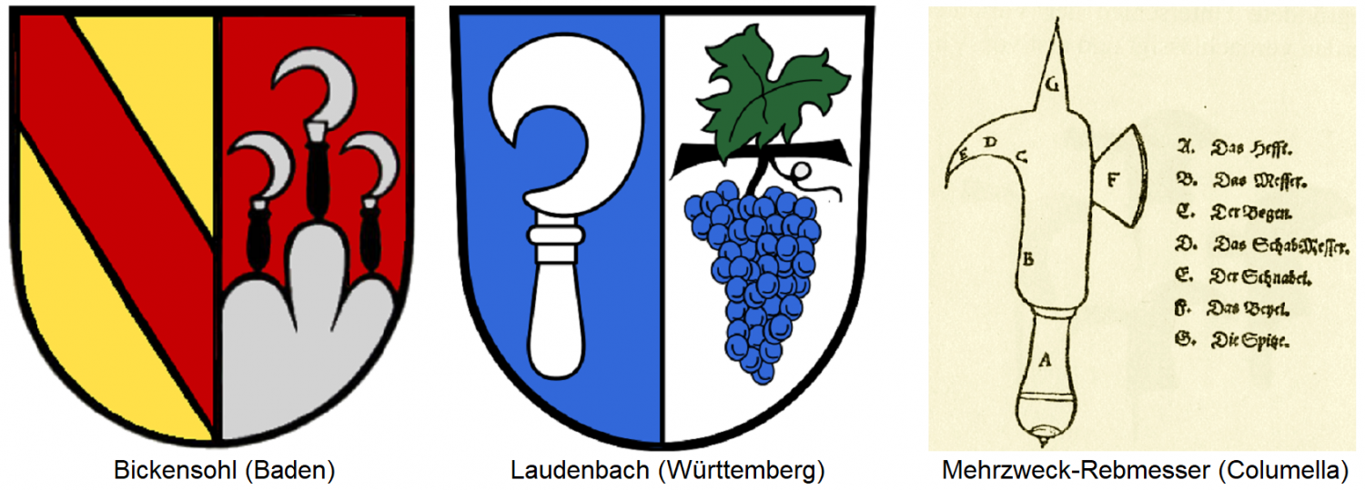 Coat of arms of Bickensohl (Baden) and Laudenbach (Württemberg) / multi-purpose vine knife after Columella