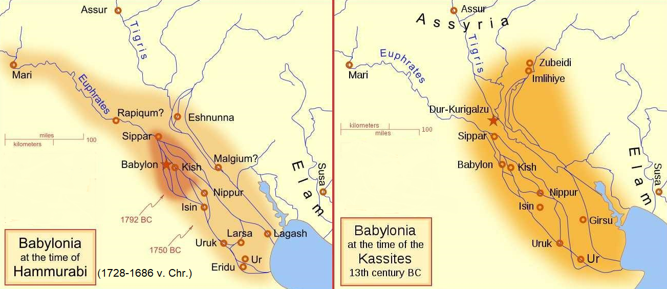 Map Bybylonia - at the time of Hammurabi