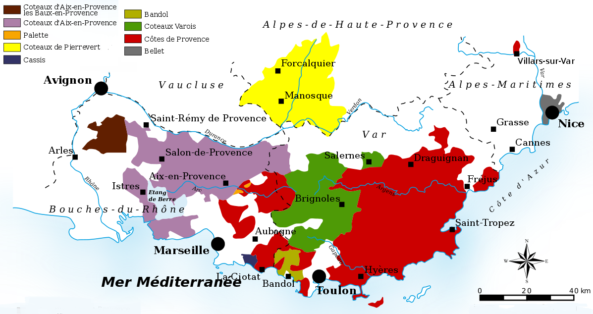 Provence - Map with wine-growing areas