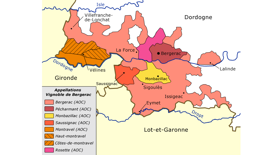 Map of Bergerac with appellations