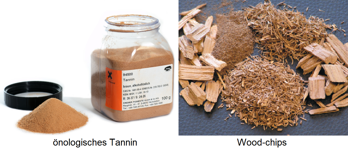 oenological tannin (powder) and wood chips