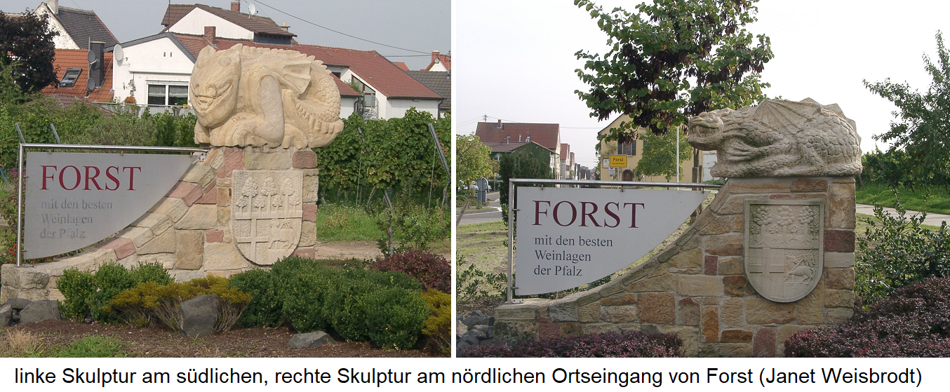 Sculptures of monsters at the entrances in Forst (Pfalz)