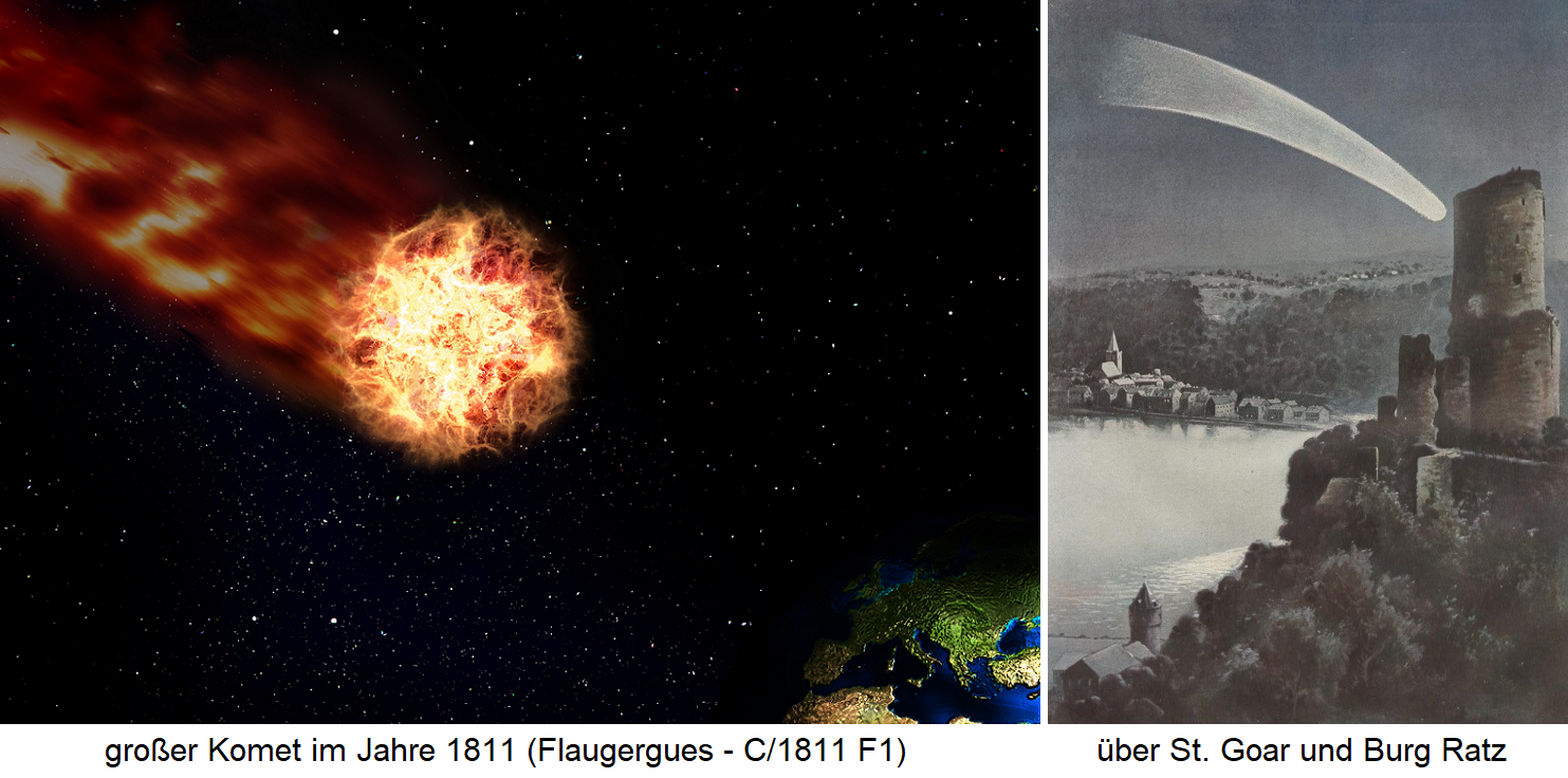 great comet from 1811 (Flaugergues - C / 1811 F1) / via St. Goar and Burg Ratz