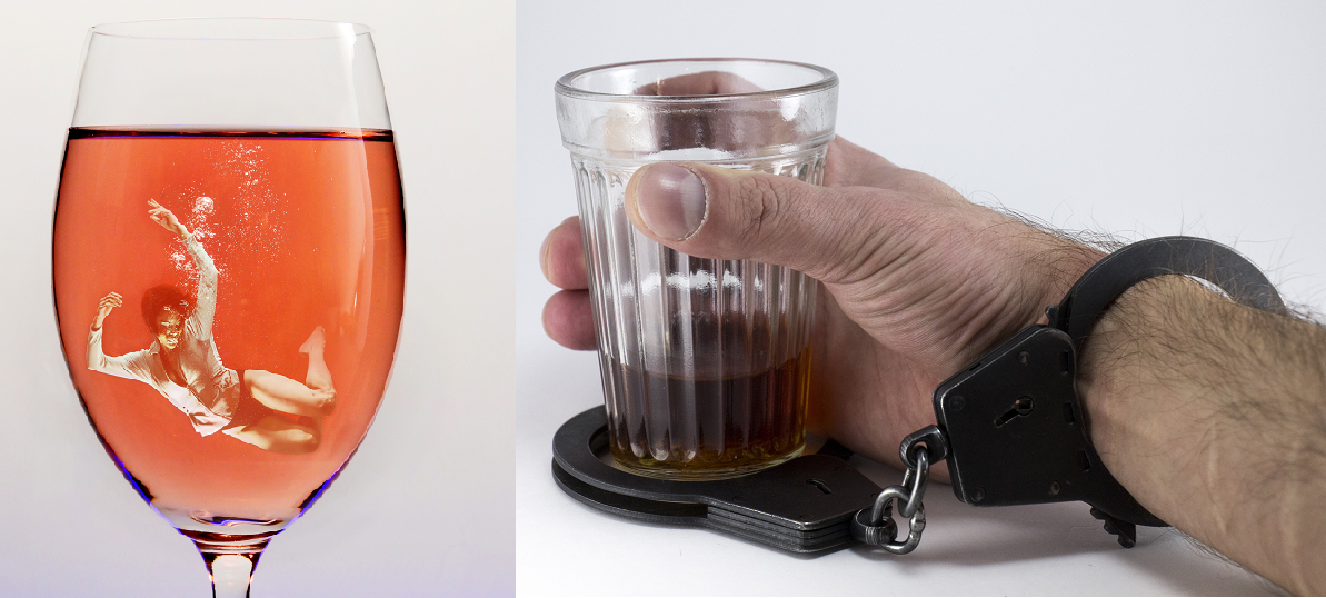 Alcoholism - man in glass / hand with handcuff and shot glass