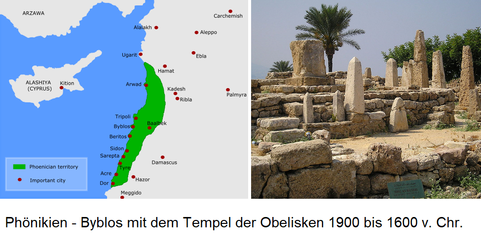 Phoenicians - Map / Temple of the Obelisks 1900 to 1600 BC Chr.