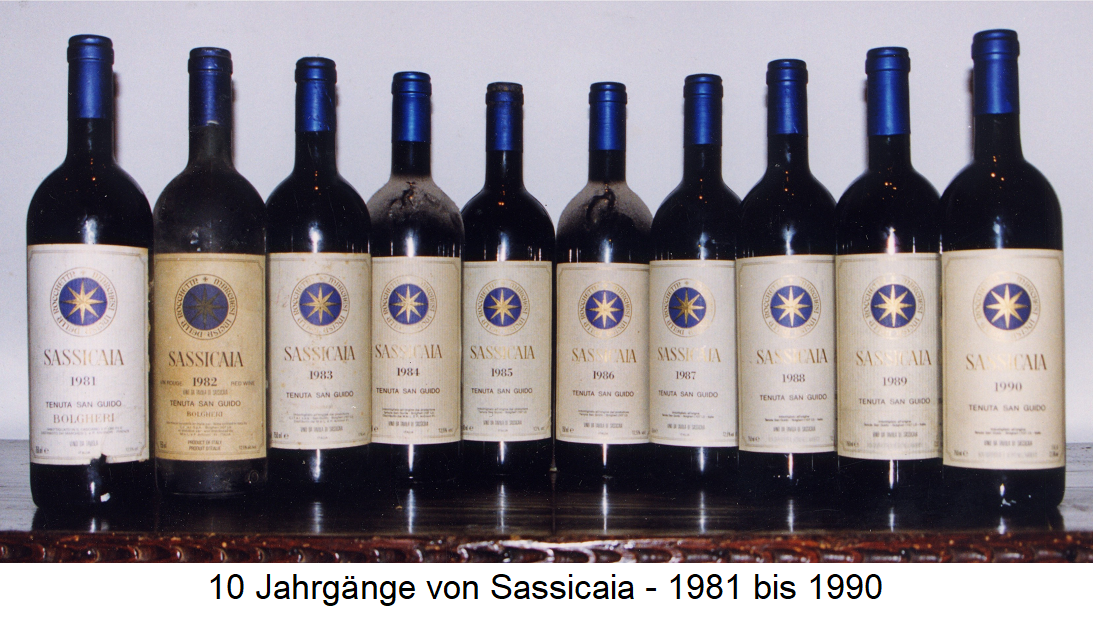 Sassicaia - 10 years from 1981 to 1990