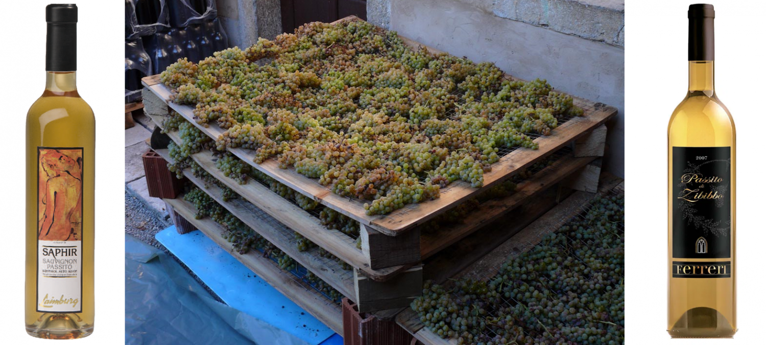 Passito - 2 bottles and spread grapes for drying