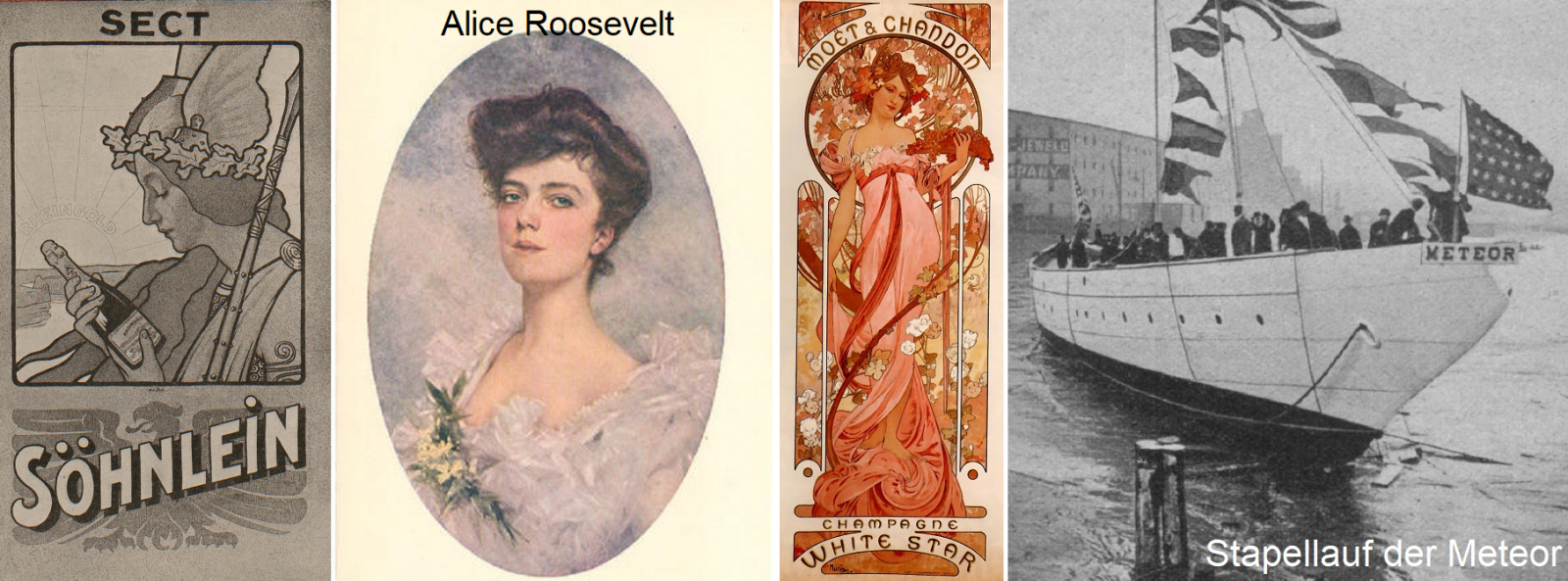 Ship christening - Söhnlein sparkling wine, Alice Roosevelt, White Star bottle, launch Meteor
